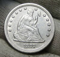 1877CC SEATED LIBERTY QUARTER 25 CENTS   NICE COIN  3519