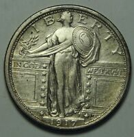 1917D TYPE 1 STANDING LIBERTY QUARTER COIN ANACS CLEANED XF40 EF 40 LOT MZ 792