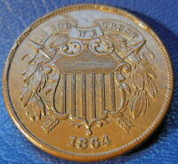 1864 TWO CENT PIECE ABOUT UNCIRCULATED TO MINT STATE ORIGINAL US TYPE COIN 9757