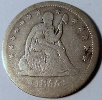 1855 O SEATED LIBERTY QUARTER FINE F BETTER DATE US COIN NEW ORLEANS 10146