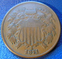 1871 TWO CENT PIECE  FINE TO EXTRA FINE BETTER DATE US COIN ORIGINAL 8485