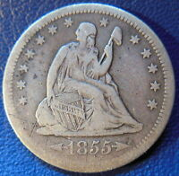 1855 O SEATED LIBERTY QUARTER FINE TO EXTRA FINE BETTER DATE US COIN 9634