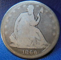 1860 SEATED LIBERTY HALF DOLLAR GOOD VG BETTER DATE P MINT US COIN 9644