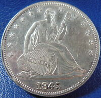1845 SEATED LIBERTY HALF DOLLAR ABOUT UNCIRCULATED TO MS COIN BETTER DATE 10859