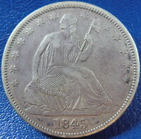 1845 SEATED LIBERTY HALF DOLLAR EXTRA FINE XF US COIN BETTER DATE 10860