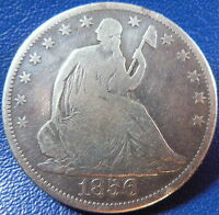 1856 S SEATED LIBERTY HALF DOLLAR GOOD TO FINE COIN KEY DATE CLEANED 10867