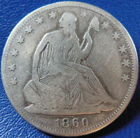 1860 SEATED LIBERTY HALF DOLLAR GOOD TO FINE US COIN BETTER DATE 10870