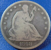 1868 SEATED LIBERTY HALF DOLLAR GOOD VG US COIN BETTER DATE 10880