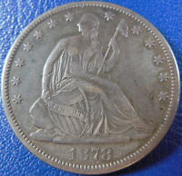 1878 SEATED LIBERTY HALF DOLLAR FINE TO EXTRA FINE US COIN CLEANED 10888