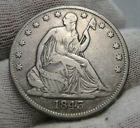 1843 O SEATED LIBERTY HALF DOLLAR 50 CENTS.  NICE OLD COIN  2402
