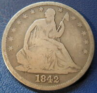 1842 HALF DOLLAR SEATED LIBERTY GOOD VG REPUNCHED DATE RPD US COIN 6735