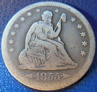 1855 O SEATED LIBERTY QUARTER FINE TO FINE KEY DATE US COIN ORIGINAL 10070