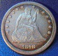 1878 CC SEATED LIBERTY QUARTER CARSON CITY EXTRA FINE TO AU GREAT DETAILS 10072