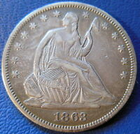 1863 SEATED LIBERTY HALF DOLLAR EXTRA FINE XF PHILADELPHIA P MINT US COIN 8198