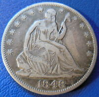 1848 O SEATED LIBERTY HALF DOLLAR FINE TO EXTRA FINE US COIN ORIGINAL 8183
