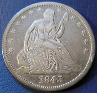 1843 O SEATED LIBERTY HALF DOLLAR FINE TO EXTRA FINE US COIN 8177