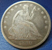 1860 O SEATED LIBERTY HALF DOLLAR FINE TO EXTRA FINE US COIN 7330
