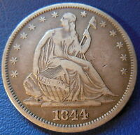 1844 O SEATED LIBERTY HALF DOLLAR FINE TO EXTRA FINE ORIGINAL US COIN 7593