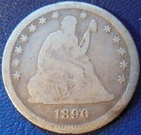 1890 SEATED LIBERTY QUARTER GOOD G US COIN 10591
