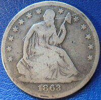 1863 SEATED LIBERTY HALF DOLLAR GOOD VG US COIN 10249