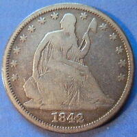 1842 SEATED LIBERTY HALF DOLLAR REPUNCHED DATE RPD FS 301 WB 105 5852