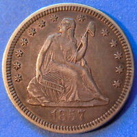 1857 O SEATED LIBERTY QUARTER ABOUT UNCIRCULATED AU TONED ORIGINAL COIN 4887