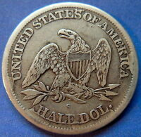 1865 S SEATED LIBERTY HALF DOLLAR FINE TO EXTRA FINE DIE CRACKS WB 7 5492