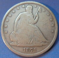 1871 S SEATED LIBERTY HALF DOLLAR FINE TO FINE US COIN 5582