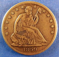 1859 S KEY DATE SEATED LIBERTY HALF DOLLAR / EXTRA FINE 2295