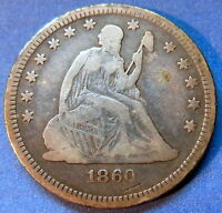 1860 O SEATED LIBERTY QUARTER FINE TO EXTRA FINE BETTER DATE US COIN 5568