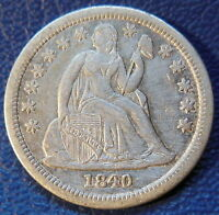 1840 WITH DRAPERY SEATED LIBERTY DIME EXTRA FINE XF CLEANED US COIN 9334