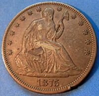 1875 CC CARSON CITY SEATED LIBERTY HALF DOLLAR EXTRA FINE TO AU TONED COIN 5124