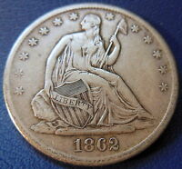 1862 S SEATED LIBERTY HALF DOLLAR EXTRA FINE XF ORIGINAL TONED US COIN 7641
