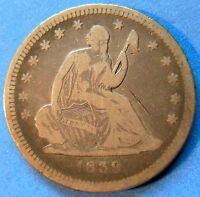 1839 NO DRAPERY SEATED LIBERTY QUARTER FINE VF TONED US COIN 5094