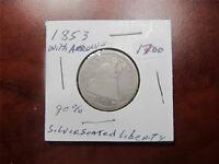 1853 EARLY SILVER SEATED LIBERTY QUARTER 90 SILVER GRADE F WITH ARROWS ITEM1700