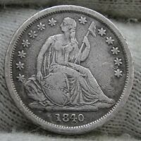 1840 SEATED LIBERTY DIME 10 CENTS.. KEY DATE ONLY 981,500 MINTED..  NICE 1107
