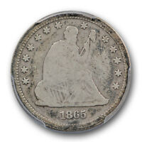 1865 LIBERTY SEATED QUARTER PCGS VG 8 GOOD KEY DATE LOW MINTAGE