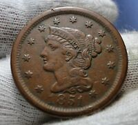 1851 LARGE CENT BRAIDED HAIR PENNY   NICE COIN..  1628