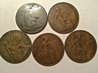 LOT OF 5 ENGLISH COINS ONE PENNY  1865 TO 1921