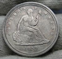 1839 SEATED LIBERTY QUARTER 25 CENTS     KEY DATE ONLY 491,146 MINTED 1504