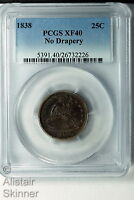 1838 NO DRAPERY SEATED LIBERTY QUARTER PCGS XF40 FIRST YEAR