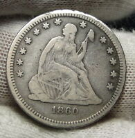 1860 O SEATED LIBERTY QUARTER 25 CENTS    KEY DATE ONLY 388,000 MINTED. 2847