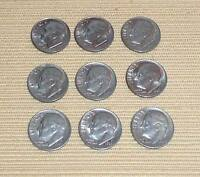 LOT OF 9 ROOSEVELT DIMES DATED 1982 P