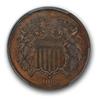 1866 2C TWO CENT PIECE PCGS PR 64 BN PROOF BROWN LOW MINTAGE COIN