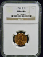 1963 D LINCOLN MEMORIAL CENT NGC MS 64 RD