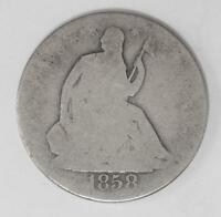 1859 O SEATED LIBERTY SILVER HALF DOLLAR DRAPERY AT ELBOW