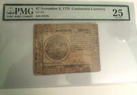 $7 CONTINENTAL CURRENCY NOV.7 1776  ONLY JEWISH SIGNER B. LEVY PMG VF25