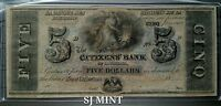 1800'S $5 CITIZEN BANK OF LOUISIANA NEW ORLEANS   NOTE. UNCIRCULATED