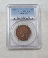 1857 BRAIDED HAIR SMALL DATE LARGE CENT SLABBED PROOF 63 RED BROWN PCGS 1 CENT