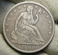 1860 O SEATED LIBERTY HALF DOLLAR 50 CENTS. NICE COIN SEMI KEY DATE 3911